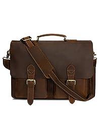Kattee Handmade Genuine Leather Laptop Briefcase Messenger Bag Dark Coffee