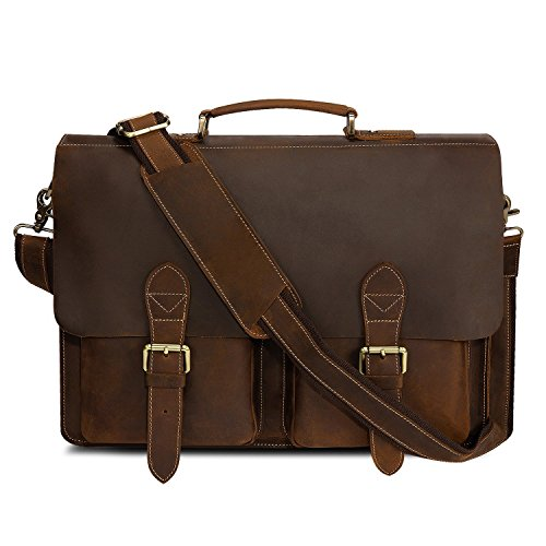 Kattee Handmade Genuine Leather Laptop Briefcase Messenger Bag Dark Coffee by Kattee
