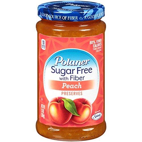 Polaner Peach, Sugar Free With Fiber Preserves, 13.5oz