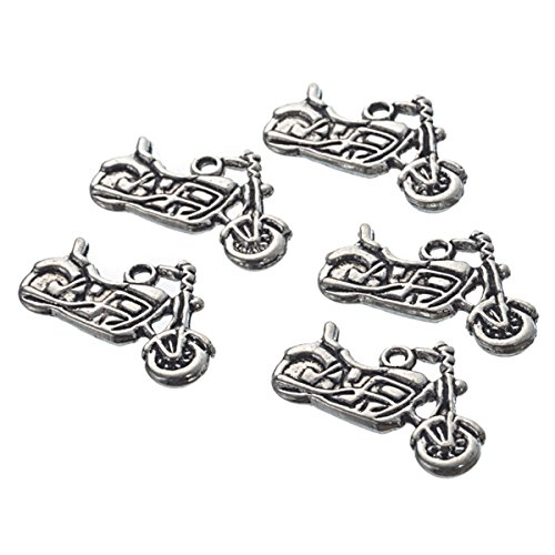 Housweety Silver Motorcycle Pendants 24x14mm