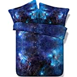 Alicemall 5 PCS Galaxy Comforter Set Twin Size Gorgeous Shining Blue Galaxy Outer Space Print 5-Piece Comforter Bedding Set (Twin, Blue-5pcs)