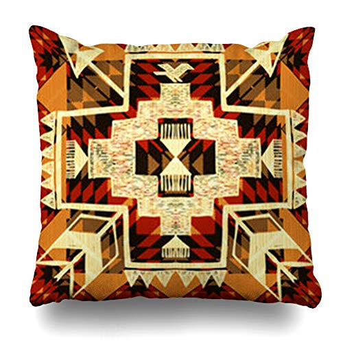HomeOutlet Throw Pillow Cover Navajo Arrow Abstract Native American Border Aztec Bird Drawn Ethnic Tribe Pillowcase Square Size 18 x 18 Inches Home Decor Sofa Cushion Case ()