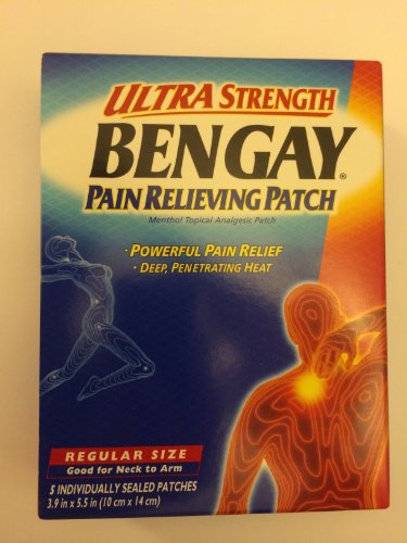 Bengay Ultra Strength, Pain Relieving Patch, Regular Size, 5 Count (Ultra Strength Pain Relieving Cream)
