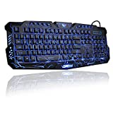 Gaming Keyboard, BlueFinger Mechanical Computer Keyboard USB Wired LED 3 Color Red/Blue/Purple Backlit Gamer lighted Keyboard with Customized MousePad