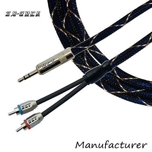 3.5mm Male to 2RCA Male Stereo Audio Y Cable (6FT) (6' Mp3)