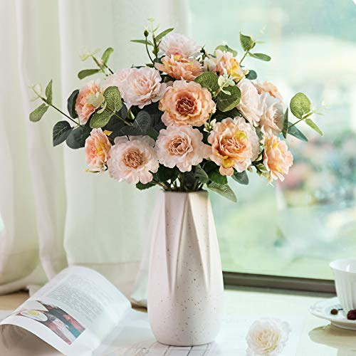 YUYAO Artificial Peony with Ceramic Vase Fake Silk Peony Flowers Decoration for Home Office Party Table Wedding (Champagne Pink) ()