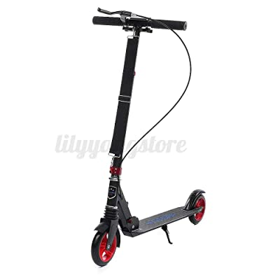 DuncaMontgo Folding Aluminum Adult Kick Scooter Road Ride Adjustable Height with, Red : Sports & Outdoors