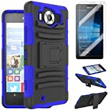 For (Nokia) Microsoft LUMIA 950 Case [SlickGearsTM] Heavy Duty Shock Impact Protection Dual Layer Rubberized Rugged Armor Kickstand Case with Belt Clip Holster + LCD Screen Protector Combo (Blue)