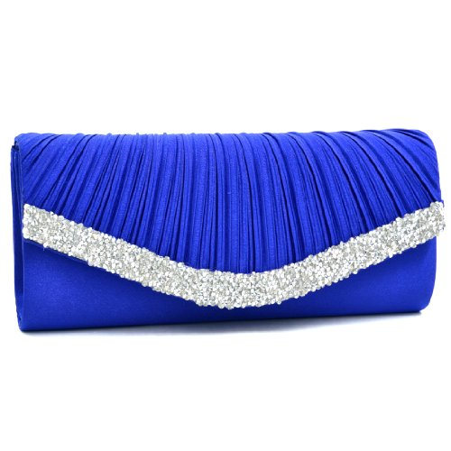 (Dasein Women's Satin Pleated Evening Bags Rhinestone Accented Flap Clutch Purses with Silver Chain Strap Blue)
