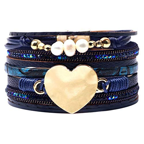 Mnz Jewelry Leather Bracelet Western Design Boho Wrap Bracelets Cuff Bangle for Women Magnetic Bracelet Handmade Jewelry for Mother -