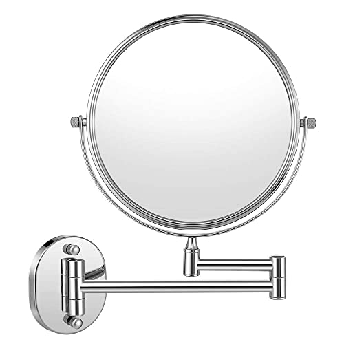 Cozzine Makeup Mirror Wall Mounted with 10X Magnifying, Two Side Vanity Extendable Bathroom Mirror, 10X Magnification Mirror 8 Inch, Chrome Finish