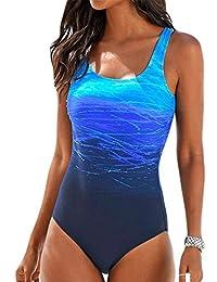 Arctic Cubic Ropa Traje De Baño Completos Una Pieza Sin Mangas Detalle de Tirantes Espalda Acolchado Degradado de Color Swimwear Swimsuit Bañador Beachwear Monokini Trikini