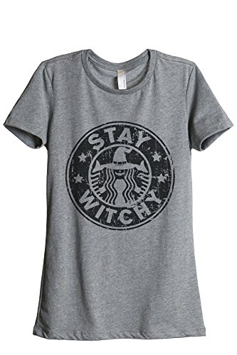 Thread Tank Stay Witchy Halloween Women's Relaxed T-Shirt Tee Heather Grey Small (Halloween Starbucks)