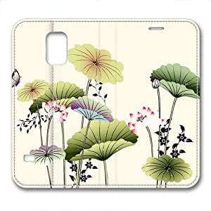 New Design and Good Quality Case,PU Leather Magnet Shell Stand Case Cover for Samsung Galaxy S5 with Abstract Lotus