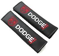 X2 DODGE Black Carbon Fiber Look Seat Belt Cover Shoulder Pads RAM CHARGER