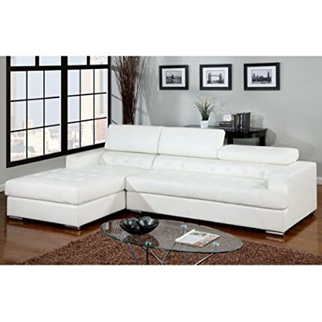Floria Contemporary White Bonded Leather Sectional Sofa Set  sc 1 st  Amazon.com : bonded leather sectional - Sectionals, Sofas & Couches