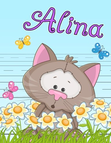 """Alina: Personalized Book with Child's Name, Primary Writing Tablet for Kids, 65 Sheets of Practice Paper, 1"""" Ruling, Preschool, Kindergarten, 1st Grade, 8 1/2"""" x 11"""" PDF"""