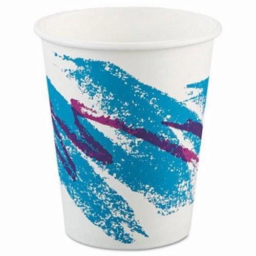 Solo 370JZJ Jazz Design Single Sided Poly Coated Paper Hot Cup, 10 oz Capacity, Case of 1000