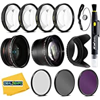 Professional 58mm 0.43x Wide Angle Lens + 2.2x Telephoto Lens + 3 Pieces Filter Set + 4Pc Close Up Lens + Lens Hood with Accessories Kit For All Canon, Nikon, Sony, Panasonic, Olympus, Pentax ,Cameras