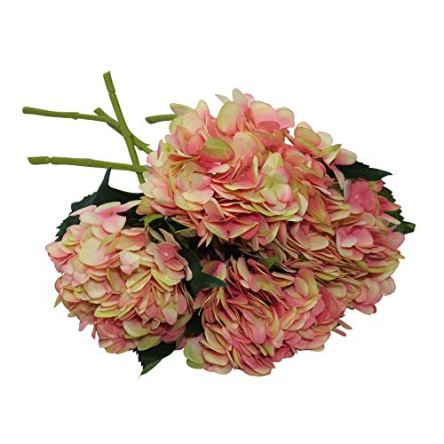 EZFLOWERY 5 Pcs Artificial Silk Hydrangeas Flowers Bouquet Arrangement, for Home Decor, Wedding, Office, Room, Hotel, Event, Party Decoration (Rose Pink)