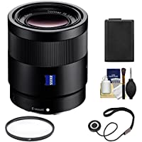 Sony Alpha E-Mount Sonnar T FE 55mm f/1.8 ZA Lens with NP-FW50 Battery + Filter + Kit for A7, A7R, A7S Mark II, A5100, A6000, A6300 Cameras