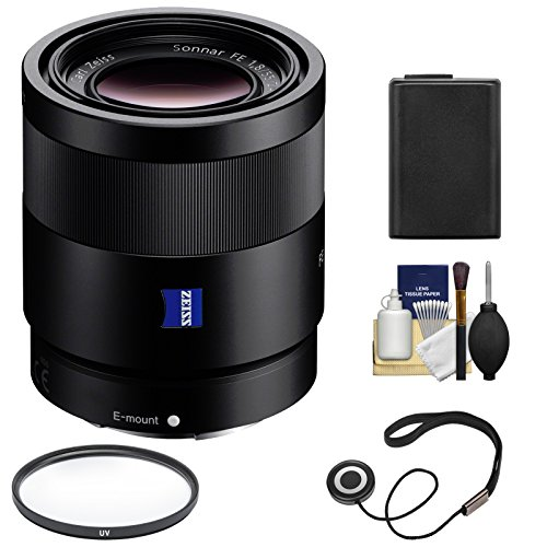 Sony Alpha E-Mount Sonnar T FE 55mm f/1.8 ZA Lens with NP-FW50 Battery + Filter + Kit for A7, A7R, A7S Mark II III, A9, A6300, A6500 Cameras (Sony 55mm F1 8 Sonnar T Fe Za)
