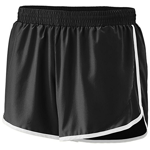 Augusta Sportswear Augusta Girls Adrenaline Short, Black/Black/White, Medium - Double Knit Polyester Softball Shorts