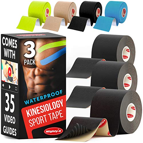 MIGHTY-X * Kinetic Tape for Knees and Shoulders * Comes with 35 Video Guides * Muscle Tape * Kinesiology Tape Waterproof * 3 Uncut Black Rolls * Each Shoulder Tape Roll - 2in*16.5ft