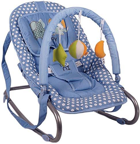 Tragehenkel 3-Punkt-Sicherheitsgurt Spielbogen Blau Babywippe Manny verstellbar