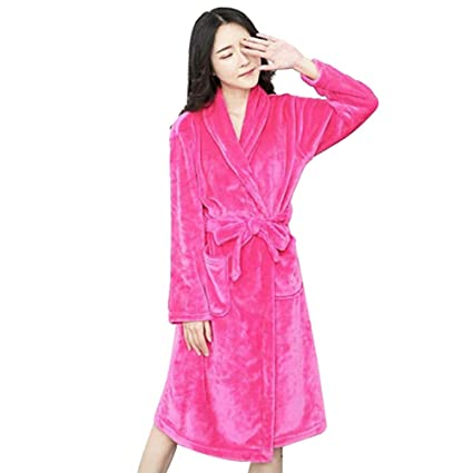Coomir Bata de Franela Albornoz Collar SPA Robe Ropa de Dormir de Manga Larga para Hombres