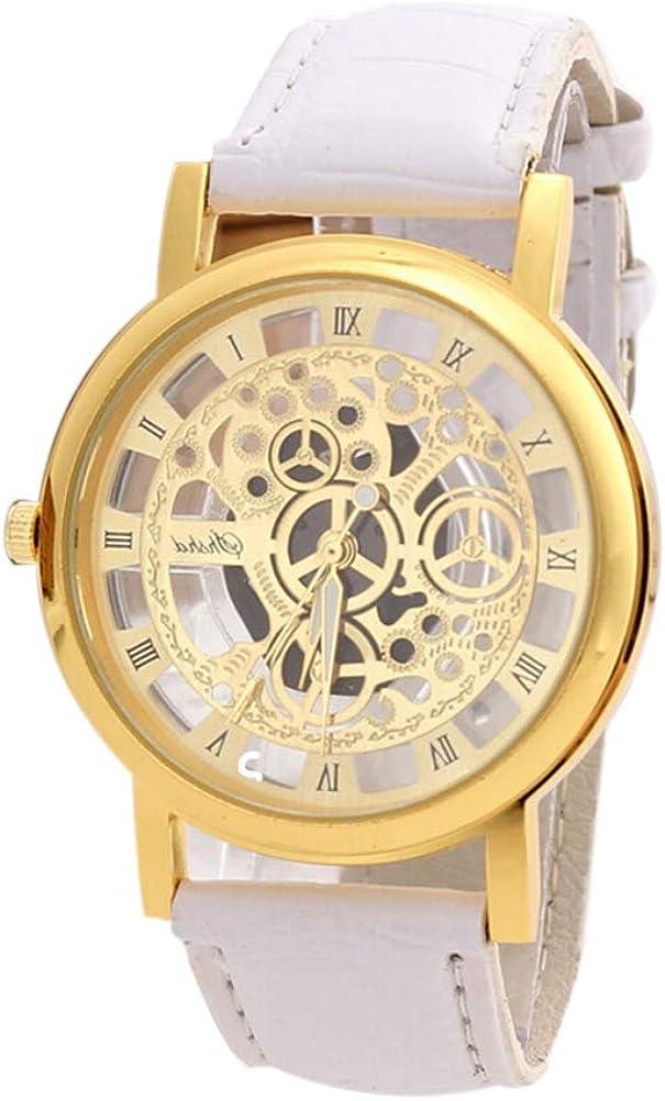 Reloj de Pulsera de Cuero de Acero Inoxidable Reloj de Pulsera de Cuarzo de diseño Hueco para Hombres