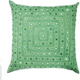 Luna Bazaar Square Motif Mirror Pillow Cover (18 x 18 Inches, Fir Green, 100% Cotton)