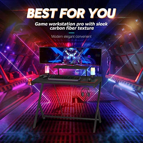 """Gaming Desk 40"""" with Monitor Shelf Gaming Table Home Computer Desk with Cup Holder and Headphone Hook Gamer Workstation Game Table (40"""" W x 24'' D), Motpk"""