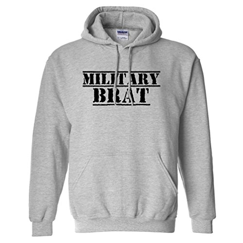 Military Brat Adult Hooded Sweatshirt in Sport Grey with Black Text - -