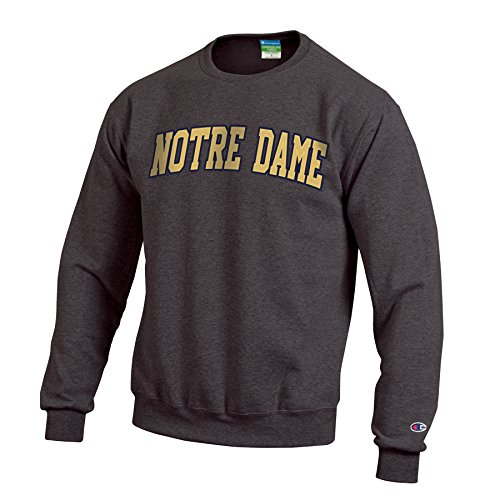 Champion NCAA Notre Dame Fighting Irish Men's Eco Powerblend Crew Neck Sweat Shirt, Medium, Granite Heather