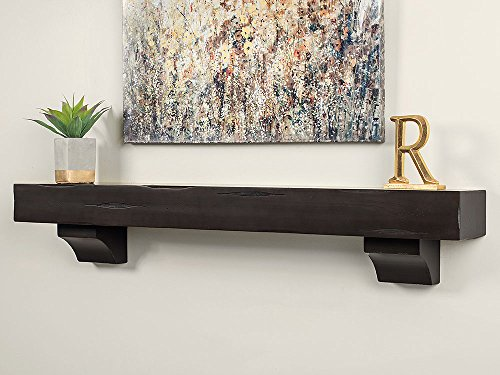 "Breckenridge 60"" Inch Fireplace Mantel Shelf - Espresso Distressed"