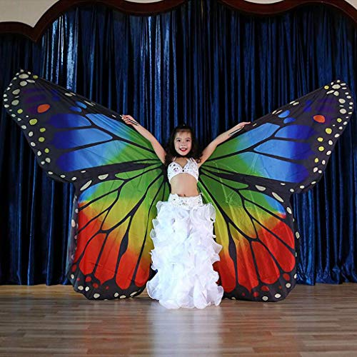 Bazahy Belly Dance Isis Wings with Sticks for Children Belly Dance Costume Angel Wings Cocktail Party Halloween Party Bar Show Taking Pictures]()