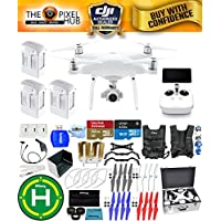 DJI Phantom 4 Advanced+ Drone MEGA Ready To Fly EXTREME ACCESSORY BUNDLE with Aluminum Case, Vest Strap, Extra Props, Landing Pad Plus Much More (3 Batteries Total)