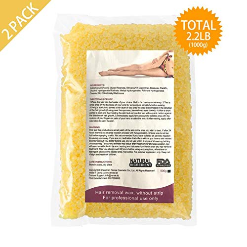 Hard Wax Beans Hair Removal for Women and Men - Couple Set for Stripless Painless Wax Beads Depilatory for Wax Warmer Kit, Smooth Facial and Body Bikini (500g, 2 Pack, Gold,Honey)