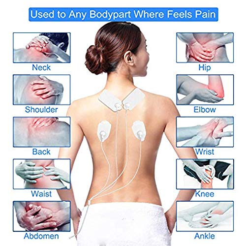 ABODY TENS Unit & EMS Combination Muscle Stimulator Relief Touch Screen FDA Cleared, Rechargeable Device with 2 Channels 24 Modes 10 Pads for Pain Management for Back, Neck, Arms, Legs, Abs and More