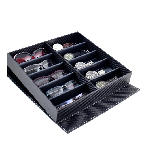 Caddy Bay Collection Carbon Fiber Pattern Large Sunglasses Case Display Storage Watch Box with 10 - Sunglass Carbon Fiber Case