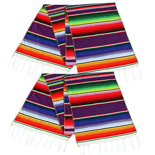 Aneco 2 Pack 14 by 84 Inches Mexican Table Runner Mexican Serape Blanket Cotton Colorful Fringe Table Runners for Mexican Wedding Party Kitchen Outdoor Decorations -