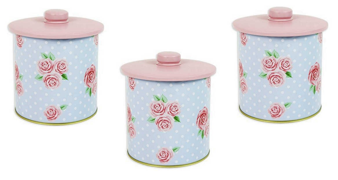 Blue Pink Floral Rose Tea Coffee Sugar Storage Canister Tin In