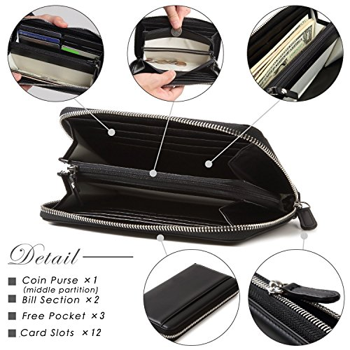 Lustear Women's Zip Around Long Wallets With Zipper Coin Purse (Black×Red) by Lustear (Image #3)
