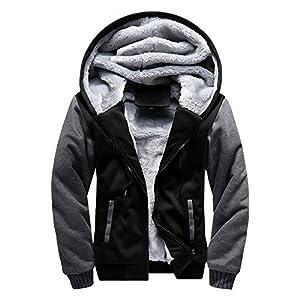 ASALI Men's Pullover Winter Jackets Hooed Fleece Hoodies Wool Warm Thick Coats Black XL#02