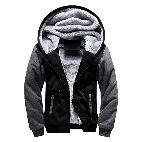 ASALI Men's Pullover Winter Jackets Hooed Fleece Hoodies Wool Warm Thick Coats Black L#02