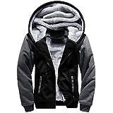 MANLUODANNI Men's Casual Hooed Hoodies Thick Wool Warm Winter Jacket Coats Black L