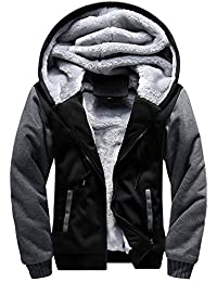 LBL ASALI Men's Pullover Winter Jackets Hooed Fleece Hoodies Sweatshirt Wool Warm Thick Coats