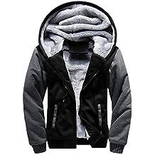 ASALI Men's Pullover Winter Jackets Hooed Fleece Hoodies Sweatshirt Wool Warm Thick Coats