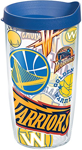 Tervis 1265132 NBA Golden State Warriors All Over Tumbler with Wrap and Blue Lid 16oz, Clear